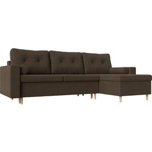 Угловой диван Мебелико Белфаст рогожка коричневый правый угол