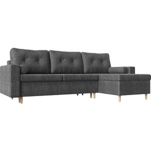 Угловой диван Мебелико Белфаст рогожка серый правый угол