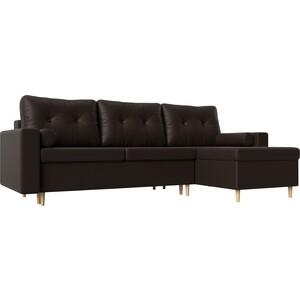 Угловой диван Мебелико Белфаст эко-кожа коричневый правый угол