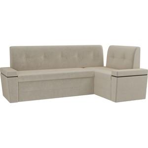 Кухонный угловой диван Мебелико Деметра микровельвет (бежевый правый угол кухонный угловой диван мебелико деметра эко кожа бежевый правый угол