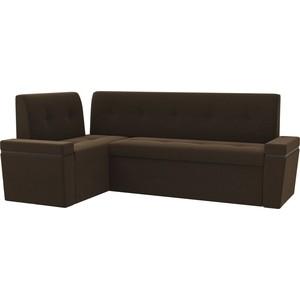Кухонный угловой диван Мебелико Деметра микровельвет (коричневый) левый угол kit thule 1225