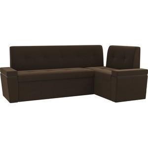Кухонный угловой диван Мебелико Деметра микровельвет (коричневый) правый угол кухонный угловой диван мебелико деметра эко кожа бежевый правый угол
