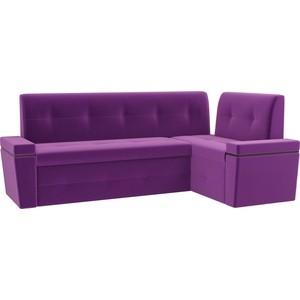 Кухонный угловой диван Мебелико Деметра микровельвет (фиолетовый) правый угол кухонный угловой диван мебелико деметра эко кожа бежевый правый угол