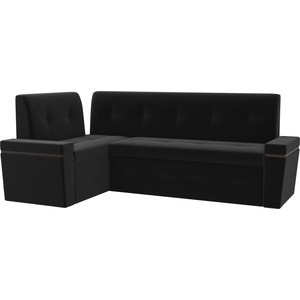 Кухонный угловой диван Мебелико Деметра микровельвет (черный) левый угол