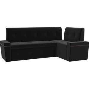 Кухонный угловой диван Мебелико Деметра микровельвет (черный) правый угол кухонный угловой диван мебелико деметра эко кожа бежевый правый угол