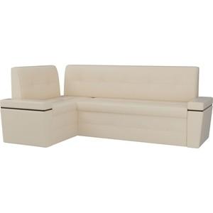 Кухонный угловой диван Мебелико Деметра эко-кожа (бежевый) левый угол кухонный угловой диван мебелико деметра эко кожа бежевый правый угол