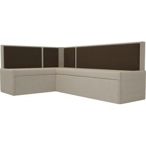 Кухонный угловой диван Мебелико Кристина микровельвет бежево/коричневый левый крем кристина отзывы
