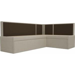 Кухонный угловой диван Мебелико Кристина микровельвет бежево/коричневый правый