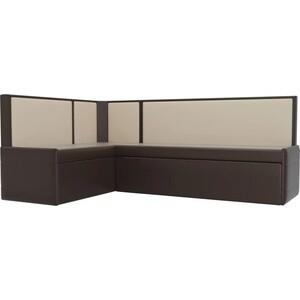 Кухонный угловой диван Мебелико Кристина эко-кожа коричнево/бежевый левый кристина орбакайте кристина орбакайте маски