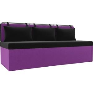 Кухонный диван Мебелико Метро микровельвет черно-фиолетовый