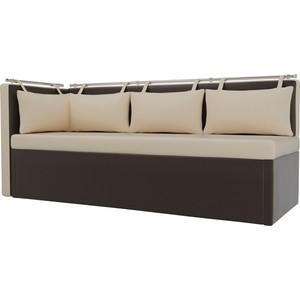 Кухонный угловой диван Мебелико Метро эко-кожа бежево-коричневый угол левый кухонный уголок мебелико уют эко кожа бежево коричневый левый