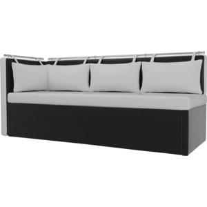 цена на Кухонный угловой диван Мебелико Метро эко-кожа бело-черный угол левый