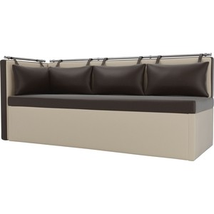 Кухонный угловой диван Мебелико Метро эко-кожа коричнево-бежевый угол левый