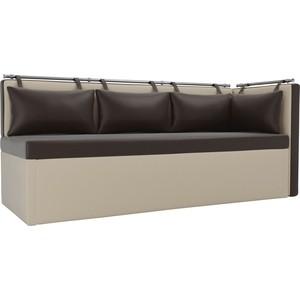 Кухонный угловой диван Мебелико Метро эко-кожа коричнево-бежевый угол правый