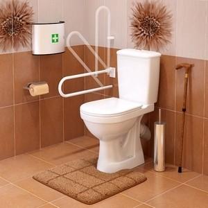 Унитаз с бачком Оскольская керамика Персона Стандарт для инвалидов, сиденьем, белый откидной поручень (2353790219861)