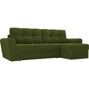 Диван угловой АртМебель Амстердам микровельвет зеленый правый угол диван угловой артмебель принстон микровельвет зеленый правый угол