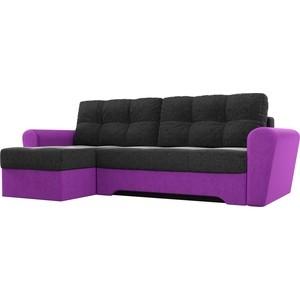 Диван угловой АртМебель Амстердам микровельвет черный/фиолетовый левый угол