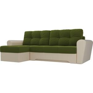 Диван угловой АртМебель Амстердам микровельвет зеленый/бежевый левый угол диван угловой мебелико амстердам микровельвет зеленый левый угол