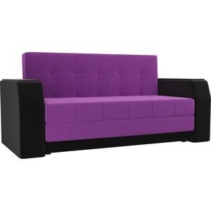 Диван прямой АртМебель Атлант мини микровельвет фиолетовый/черный