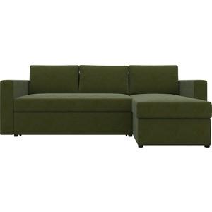Диван угловой АртМебель Турин микровельвет зеленый правый угол диван угловой артмебель принстон микровельвет зеленый правый угол