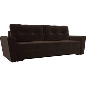 Диван-еврокнижка Мебелико Амстердам микровельвет коричневый диван еврокнижка мебелико европа микровельвет зелено бежевый