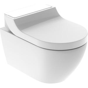 Унитаз-биде подвесной Geberit AquaClean Tuma Comfort Rimfree, с сиденьем микролифт, дизайн панель белое стекло (146.294.SI.1)