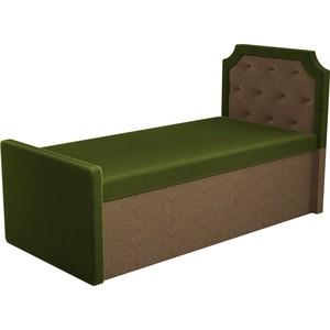 Кушетка АртМебель Севилья микровельвет зеленый/коричневый