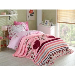 цена на Набор для спальни Hobby home collection покрывало + КПБ 1,5 сп, велсофт Bella лиловый (1501001562)