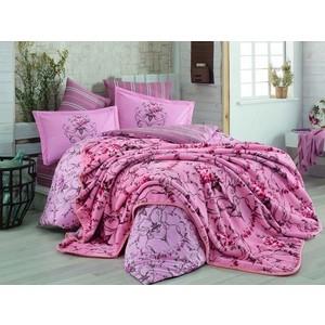 Набор для спальни Hobby home collection покрывало + КПБ Евро, велсофт Ornella розовый (1501001343) цена 2017