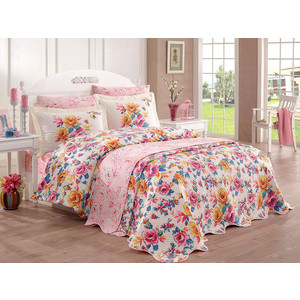 Набор для спальни Hobby home collection покрывало + КПБ Евро, велсофт Alessia розовый (16070001336) цена 2017