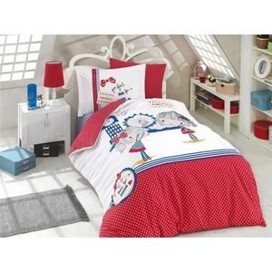 цена Комплект постельного белья Hobby home collection 1,5 сп, поплин Smile красный (1501001762) онлайн в 2017 году