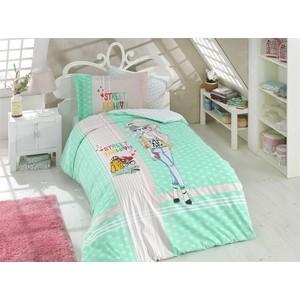 Комплект постельного белья Hobby home collection 1,5 сп, поплин Street Fashion зелёный (1501001770)