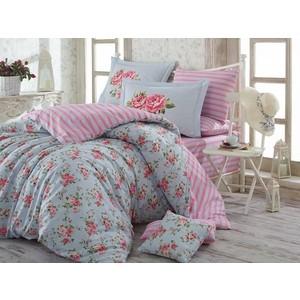 цена Комплект постельного белья Hobby home collection Семейный, поплин Flora голубой (1501001429) онлайн в 2017 году