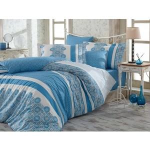 цена Комплект постельного белья Hobby home collection Семейный, поплин Lisa синий (1501001437) онлайн в 2017 году