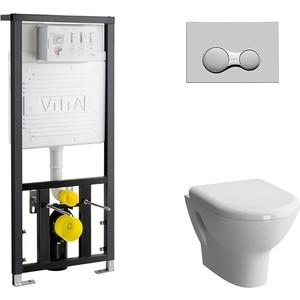 Комплект Vitra Zentrum Rim-Ex унитаз, инсталляция, сиденье микролифт, клавиша хром (5795B003-0075, 801-003-009, 742-5800-01, 740-0480)