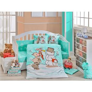 Комплект детского постельного белья Hobby home collection поплин SNOWBALL, минт, 100% Хлопок