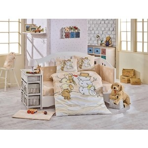 Комплект детского постельного белья Hobby home collection с одеялом поплин SNOWBALL, минт, 100% Хлопок