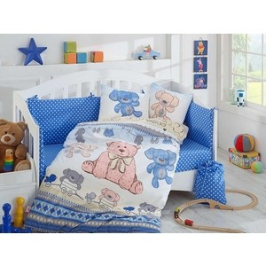 Комплект детского постельного белья Hobby home collection с одеялом поплин TOMBIK, голубое, 100% Хлопок