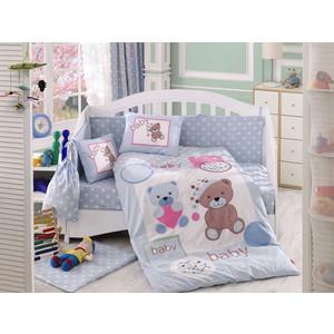 Комплект детского постельного белья Hobby home collection с одеялом поплин PONPON, голубое, 100% Хлопок
