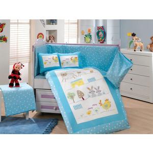 Комплект детского постельного белья Hobby home collection с одеялом поплин ZOO, голубое, 100% Хлопок комплект детского постельного белья hobby home collection с одеялом поплин zoo голубое 100% хлопок