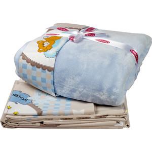 цена Комплект детского постельного белья Hobby home collection поплин с покрывалом BAMBAM, голубое, 100% Хлопок, Покрывало - 100% Полиэстер онлайн в 2017 году