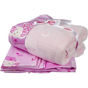 Комплект детского постельного белья Hobby home collection поплин с покрывалом LITTLE SHEEP, розовый, 100% Хлопок, Покрывало - Полиэстер