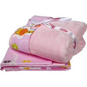 Комплект детского постельного белья Hobby home collection поплин с покрывалом PUFFY, розовый, 100% Хлопок, Покрывало - 100% Полиэстер комплект детский hobby home collection puffy