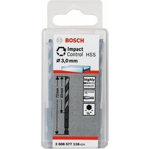 Сверло по металлу Bosch 10шт Impact Control с шестигранным хвостовиком 3 мм (2.608.577.118)
