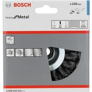 Корщетка Bosch М14, 0,5х100 мм пучки, сталь конус (2.608.622.011)
