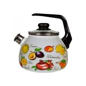 Чайник эмалированный со свистком 3.0 л Appetite Гратен-фрукты 4с209я кастрюля appetite гратен 4 л