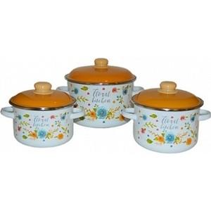 Набор эмалированной посуды 3 предмета Appetite №19 Floral kitchen 6KB191M