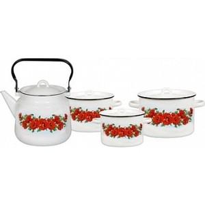 Набор эмалированной посуды СтальЭмаль Восточный мак 1с142