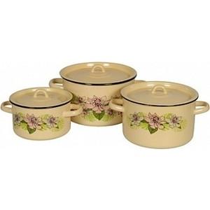 Набор эмалированной посуды 3 предмета СтальЭмаль Азалия 1с112