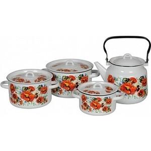 Набор эмалированной посуды СтальЭмаль Маки мечта 1с142